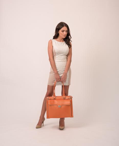 "15.6"" Leather Ladies' Briefcase w/ Removable Sleeve Mcklein Winnetka"