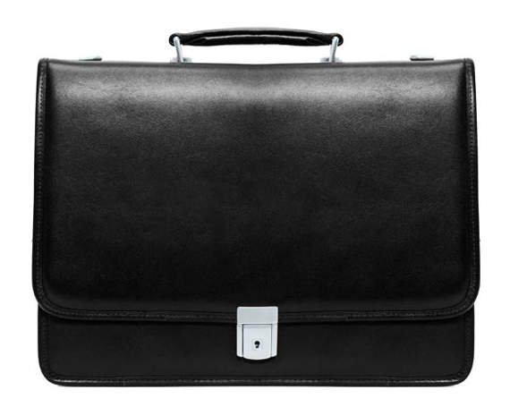"""17"""" Leather Flapover Double Compartment Briefcase Mcklein Lexington"""