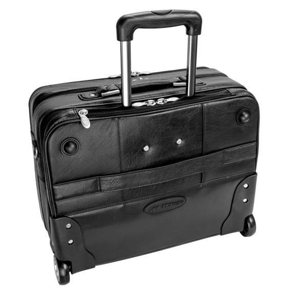"""17"""" Leather Wheeled Laptop Overnight w/ Removable Briefcase Mcklein Lasalle"""