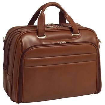 """Biznesowa męska torba skórzana na laptopa Springfield 17"""" kolor brązowy"""