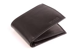 Czarny i elegancki portfel skórzany męski, wysoka funkcjonalność