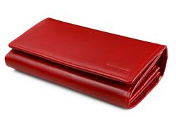 Duży portfel damski ze skóry w kolorze czerwonym