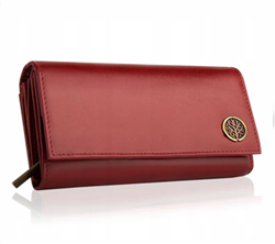 Elegancki skórzany portfel damski bpd-bf-12 czerwony