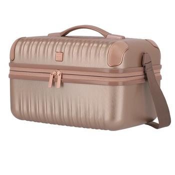 Kosmetyczka pudrowy róż, kuferek podróżny na kosmetyki Titan Barbara