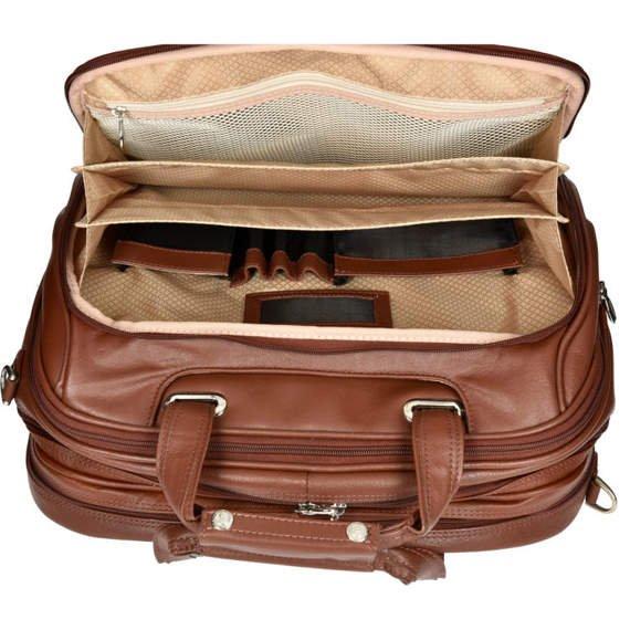 """Brązowa skórzana torba podróżna na laptopa Midway 17"""""""