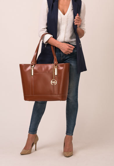 Brązowa torebka damska ze skóry naturalnej na laptopa Arya