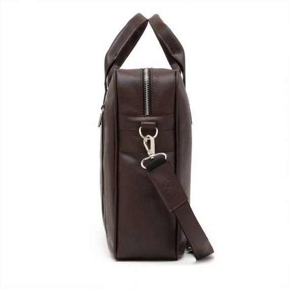 """Ciemno brązowa skórzana torba na ramię na laptopa 15,6"""" b02"""