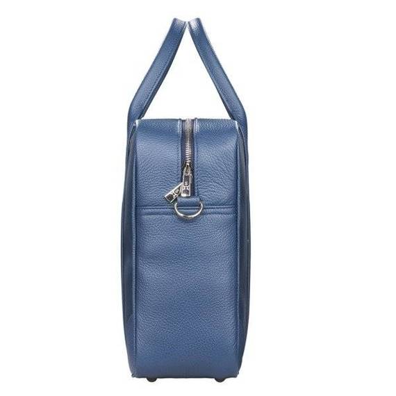 """Duża Skórzana torba biznesowa na laptopa 15,6"""" na ramię niebieska Sempertus"""