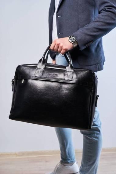 "Duża skórzana torba na laptop 17"" brodrene r03xl czarna"