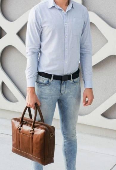 """Elegancka skórzana męska torba ramię laptopa 15,6"""" Solier SL02 ABERDEEN"""