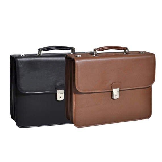 """Elegancka stylowa teczka biznesowa na laptopa brązowa 15,6"""" Ashburn"""