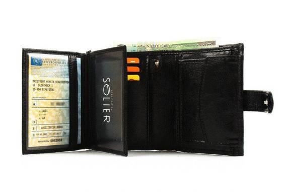 Elegancki czarny skórzany męski portfel SOLIER SW01