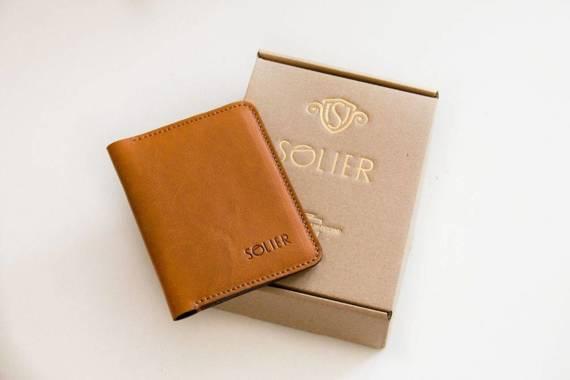 Elegancki czarny skórzany męski portfel SOLIER SW06