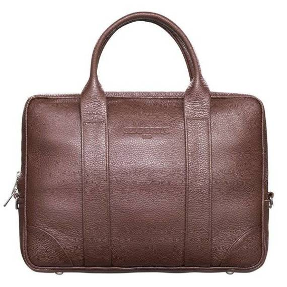 """Skórzana torba biznesowa na laptopa 15,4"""" na ramię brązowa Sempertus"""