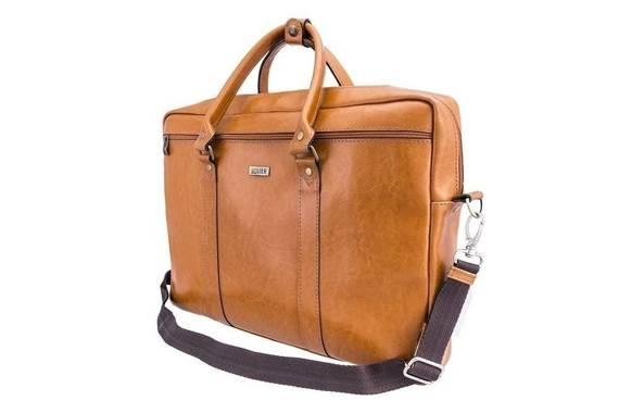 "Skórzana torba na ramię laptopa 17"" Solier SL03 KILBRIDGE Jasny brąz"