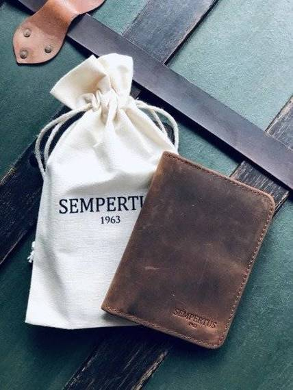 Skórzany Cienki Portfel Męski Slim Wallet Sempertus PM-13/CH Brązowy