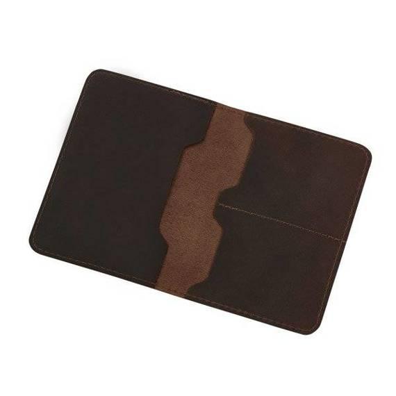 Skórzany Cienki Portfel Męski na karty Slim Wallet Sempertus PM-08 Brązowy