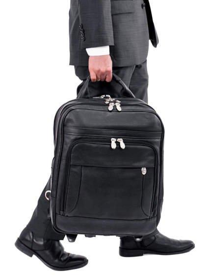 """Skórzany, czarny plecak 3w1 z odpinanymi ramionami Wicker Park 15,6"""""""