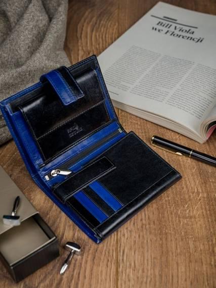 Skórzany portfel pionowy dwukolorowy składany Rovicky zatrzask