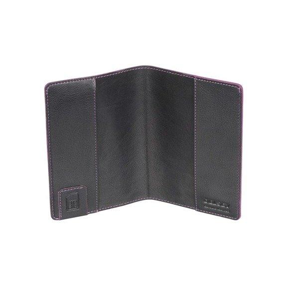 Stylowe czarne etui na paszport z eleganckim wykończeniem Aurore