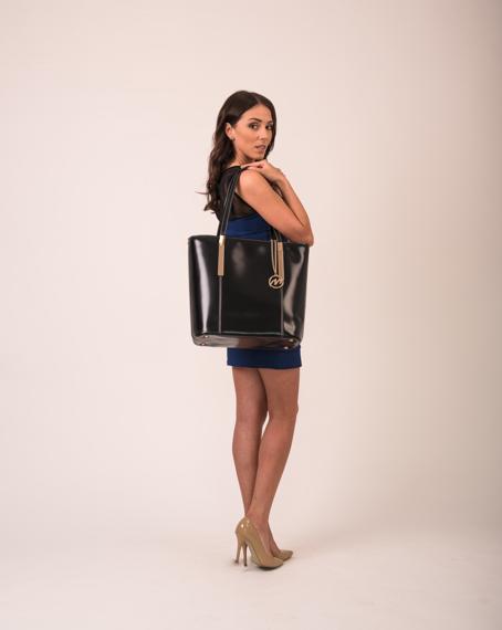 Torba damska ze skóry naturalnej, Cristina, klasyczna, czarna
