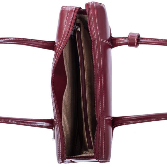 """Usztywniana torba z przegrodą na laptopa Wenonah, włoska skóra, czerwona 15,6"""""""